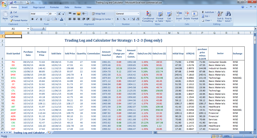 Options trade log excel